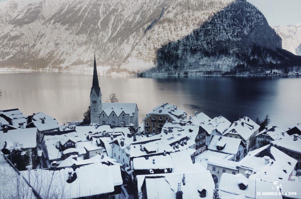 Tejados de Hallstatt. Hallstatt en invierno