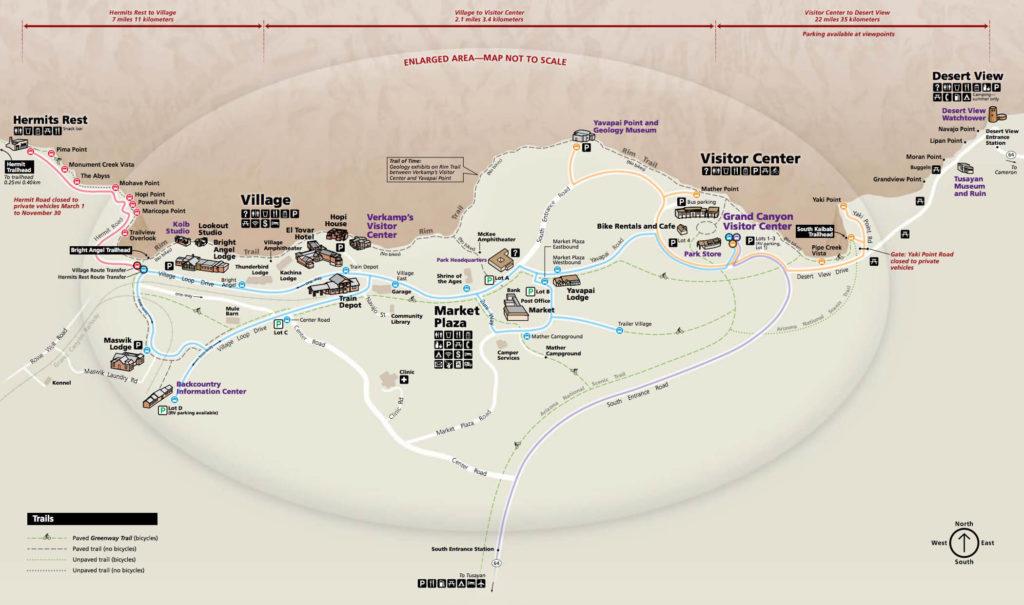 Mapa Gran Cañón. Gran Cañón en un día