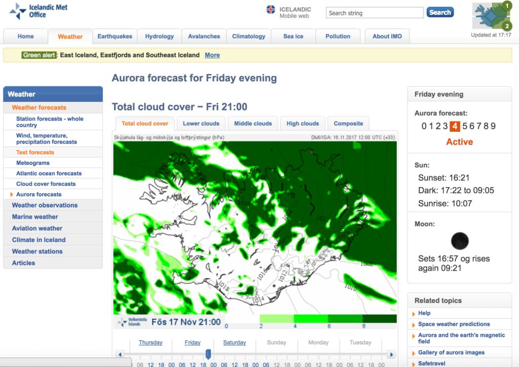 Inicio del Aurora Forecast. Predicción de auroras boreales en Islandia
