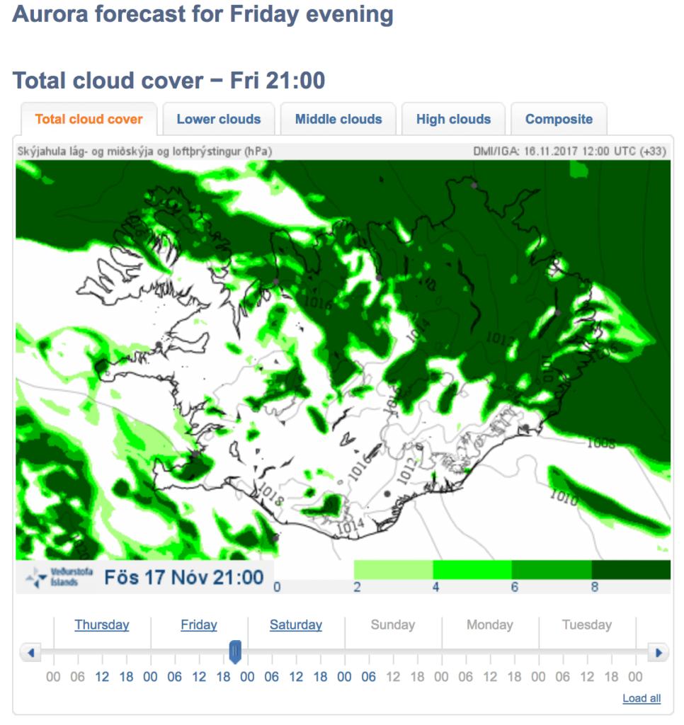 Pronóstico de nubosidad. Predicción de auroras boreales en Islandia