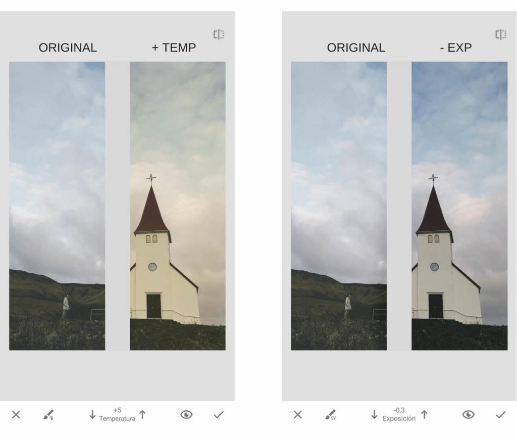 temperatura expo. Como editar fotos en el celular