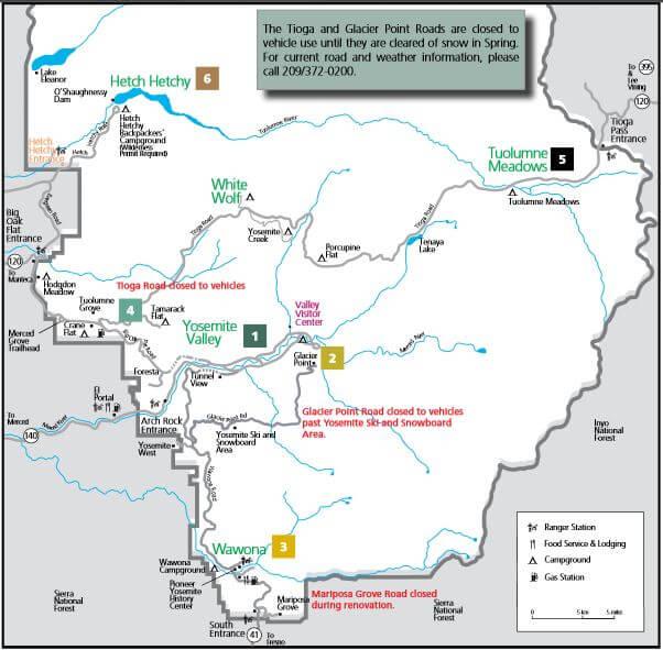 Mapa de Yosemite con zonas. Que ver en Yosemite