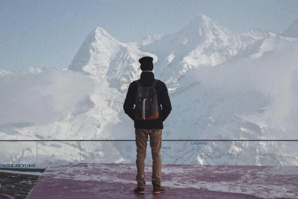 Mirando los Alpes desde Schilthorn